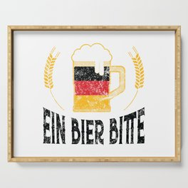 Ein Bier Bitte German Flag One Beer Please Oktoberfest Serving Tray