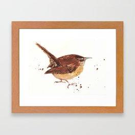 wren, tiny bird, cute birdie, bird painting, songbird, bird lover art Framed Art Print