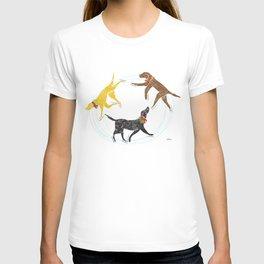 Labradors skating holiday artwork T-shirt