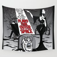 movie poster Wall Tapestries featuring Plan 9 Movie Poster by GwenILLustrates