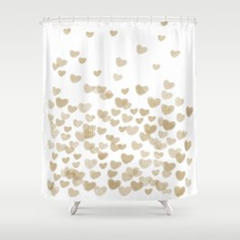 Gold Glitter Hearts - White Background for Valentines Day, Love, Bokeh, for trendy girls cell phone Shower Curtain