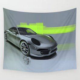 Porsche 911 Digital Painting   Automotive   Car Wall Tapestry