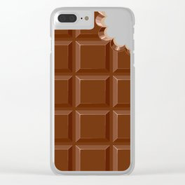 Chocolate Sweet Bar with a bite out of the corner Clear iPhone Case