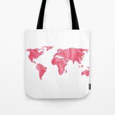 World Map Pink Watercolor Tote Bag