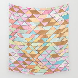 Triangle Pattern No. 25 Gold Pink Turqouise Wall Tapestry
