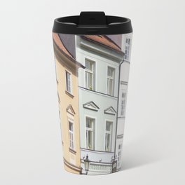 Buildings on a Cobblestone Street in Prague Travel Mug