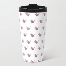 Rose Pink Japanese Crane Origami Travel Mug