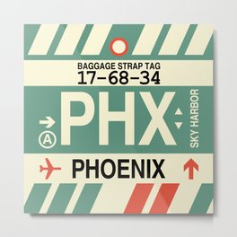 PHX Phoenix • Airport Code and Vintage Baggage Tag Design Metal Print
