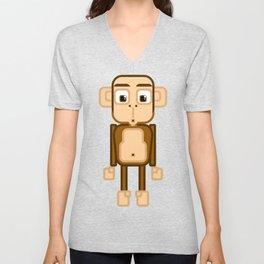 Super cute animals - Cheeky Brown Monkey Unisex V-Neck