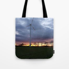 Sun Setting Over the Windmill Tote Bag