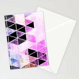 Pink & Black Modern Triangle Design Stationery Cards
