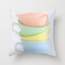 Pastel Tea Cup Stack Throw Pillow