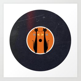 Vinyl Record Art & Design   MidCentury Modern Art Cat Double 1.0 Art Print