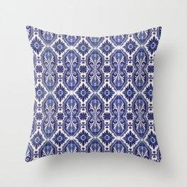 Portuguese Tiles Azulejos Blue White Pattern Throw Pillow