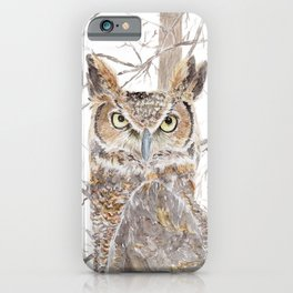 "Watercolor Painting of Picture ""Owl in the Forest"" iPhone Case"