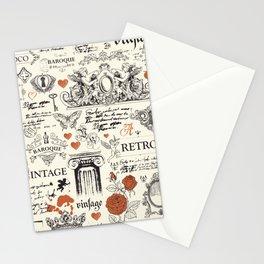 Vintage baroque hand drawn illustration pattern Stationery Cards