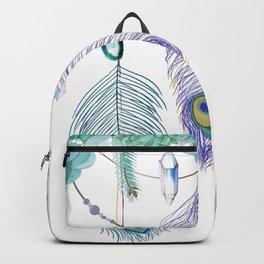 Peacock And Eucalyptus Crystal Spirit Gazer Backpack