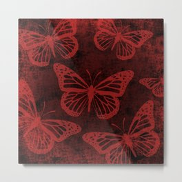 Monarch Butterfly Print on Red Metal Print