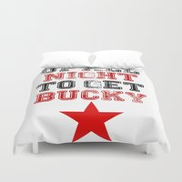 bucky Duvet Covers featuring Up All Night Bucky Barnes by BethTheKilljoy