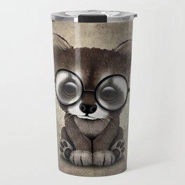 Cute Nerdy Raccoon Wearing Glasses Travel Mug