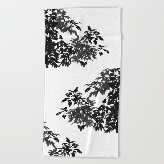 Leaves Silhouette - Black & White Beach Towel