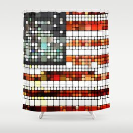Retro Abstract American Flag Shower Curtain