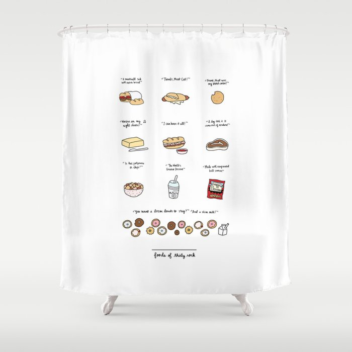 Foods Of 30 Rock Shower Curtain By Roaringsoftly
