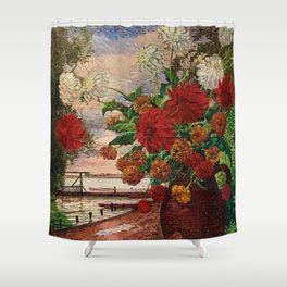 White and Red Dahlia Flowers in Vase  Herman Bieling Shower Curtain