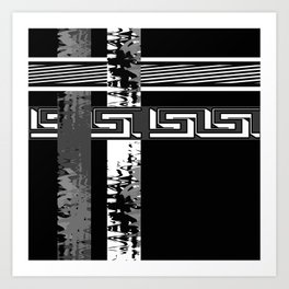 Creative Black and white pattern . The braided belts . Art Print