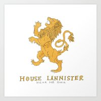 tyrion Art Prints featuring House Lannister- Game of Thrones by 366Sketchbook