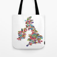 uk Tote Bags featuring UK by John Choi King