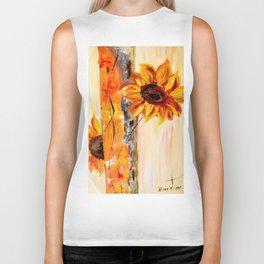abstract sunflower Biker Tank