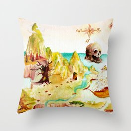 Peter Pan Map Throw Pillow