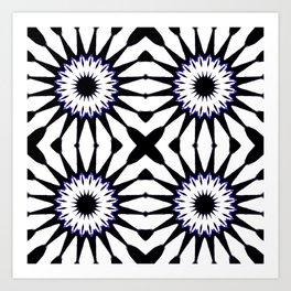 Black White Blue Pinwheel Flowers Art Print