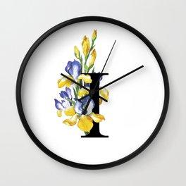 Letter 'I' Iris Flower Typography Wall Clock