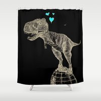 sneakers Shower Curtains featuring T-rex in sneakers  by PlumQuake