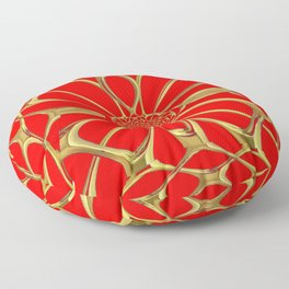 Modernistic Red-Gold Metallic Floral Web Art Design Floor Pillow