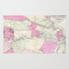 Vintage Richmond & Tidewater Virginia Map (1862) Rug
