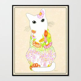 Peachy Garden Kitty with Big Green Eyes Framed- Textured Rosey Blush Background Canvas Print