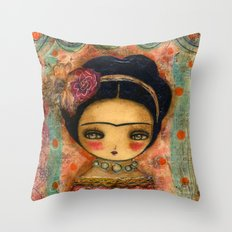 Frida In A Red And Teal Dress Throw Pillow