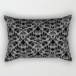 Flourish Damask Big Ptn Black on Gray Rectangular Pillow