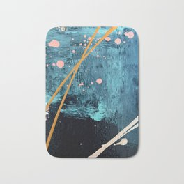 Poseidon: a bright, minimal abstract in blues, pink, orange, and white Bath Mat