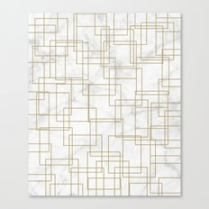 Marble Gold Squares Canvas Print