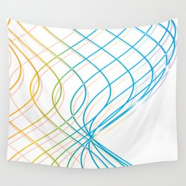 YELLOW AND BLUE WAVY LINES Abstract Art Wall Tapestry