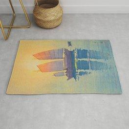 Sailing Boats, Morning Hiroshi Yoshida Modern Japanese Woodblock Print Rug