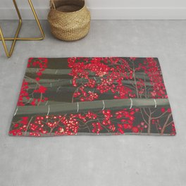 Bamboo and Fall Red leaves of Kyoto maple trees Rug