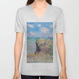 Claude Monet - Cliff Walk at Pourville Unisex V-Neck