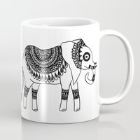 henna Mugs featuring Henna Elephant by Julie Erin Designs
