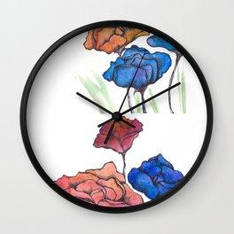 Watercolor Pencil Flowers & Ink Wall Clock