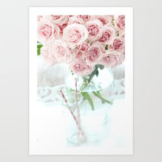 Shabby Chic Cottage Vintage Pink Pastel Roses In Clear Vase Prints and Home Decor Art Print